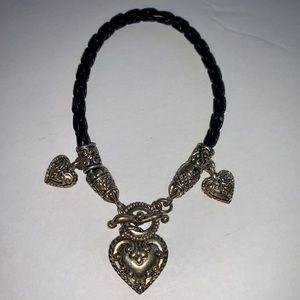 Retired Brighton Silver Heart Leather Bracelet